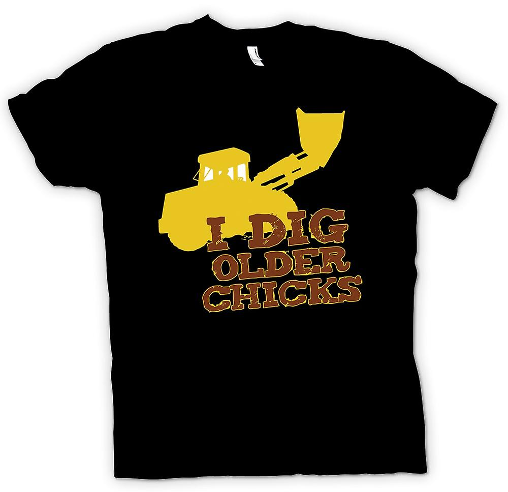 Mens T-shirt - I Dig Older Chicks - Quote