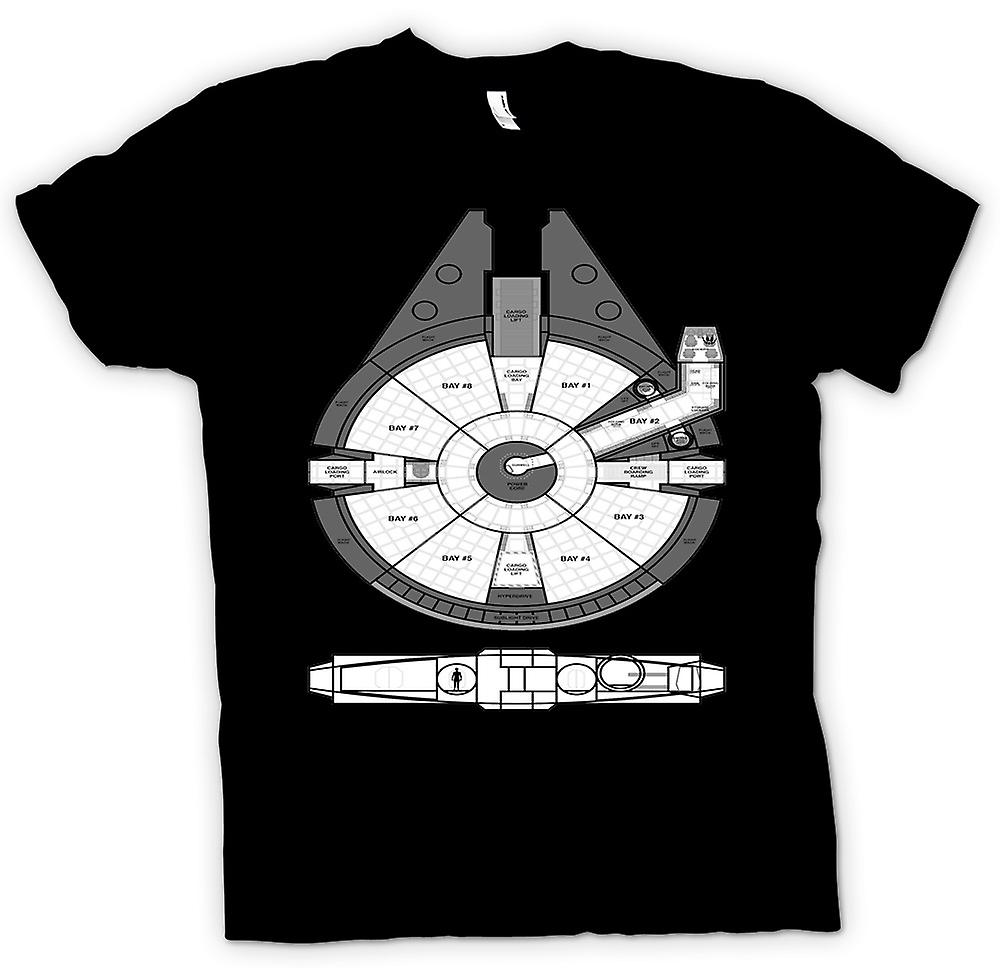 Womens T-shirt - Millenium Falcon Plan Of Ship