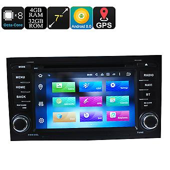 Car DVD Player 2 Din 7 Inch For Audi - Android 8.0, Octa Core, 4+32GB, Can Bus, GPS, 3G and 4G Support, Wifi, Bluetooth