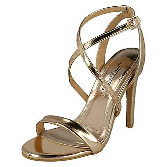 Ladies Anne Michelle High Heel Metallic Sandals F10836 - Rose Gold Metallic Foil - UK Size 8 - EU Size 41 - US Size 10