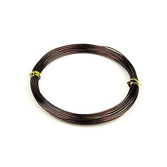 1 x Brown Plated Aluminium 2mm x 6m Round Craft Wire Coil HA16335
