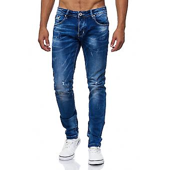 Men's jeans destroyed ripped torn used holes cracks pants stone washed