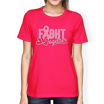 Juntos contra o câncer Womens quente rosa mama câncer suporte t-shirt