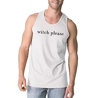 Witch Please Mens Funny Tank Top White Cotton Round Neck Line Tanks