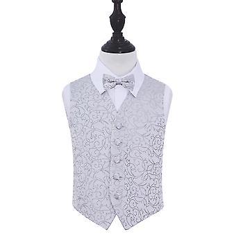 Gilet de mariage tourbillon argent & ensemble de noeud de cravate pour les garçons