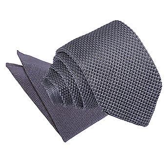 Träkol stickad smal slips & fickan torget inställd