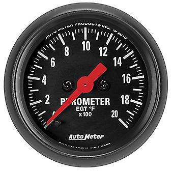 AutoMeter 2655 Z-Series Electric Pyrometer Gauge 2-1/16 in. Black Dial Face Fluorescent Red Pointer White Incandescent L