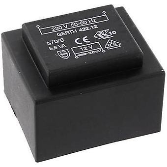 PCB mount transformer 1 x 230 V 1 x 6 V AC 5.60 VA 933 mA