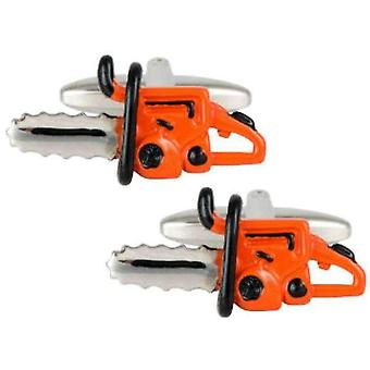 Zennor Chainsaw Cufflinks - Orange/Silber