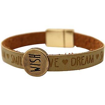 Gemshine - damer - armband - wish - önskemål - brun - sand - magnetlås