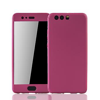 Huawei P10 Plus Handy-Hülle Schutz-Case Full-Cover Panzer Schutz Glas Pink