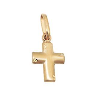 12x10mm matt diamond cut 9Kt GOLD cross pendant