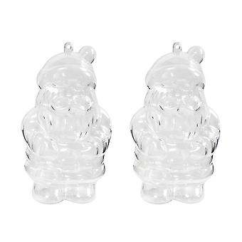 2 Father Christmas 135mm Clear Two Part Fillable Plastic Baubles