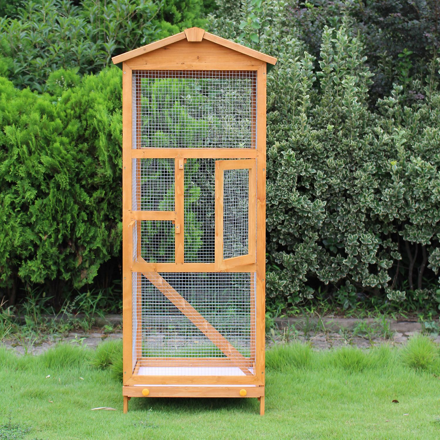 PawHut Wooden Bird Cage Birds Parrot Playing Zone Budgie Canary Parakeet Aviary House New
