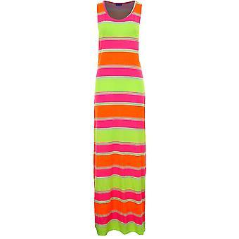 Ladies Sleeveless Neon Stripe Aztec Print Women's Long Maxi Summer Dress