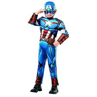 Capitán América Avengers ensamble Deluxe kids superhéroe traje comic MARVEL de carnaval