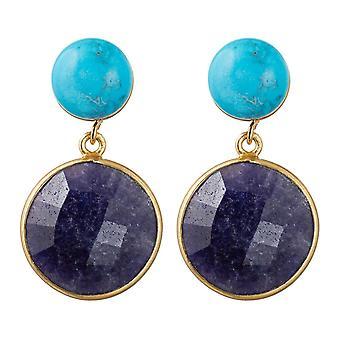 Gemshine dames oorbellen blauw sapphireturquoise edelstenen 925 verzilverd
