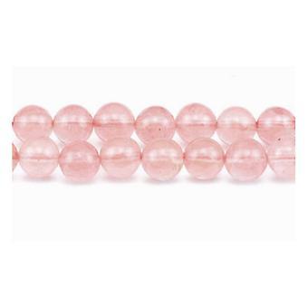 Paket 8 x Pink Cherry Quarz 8mm Plain Runde Perlen VP2765