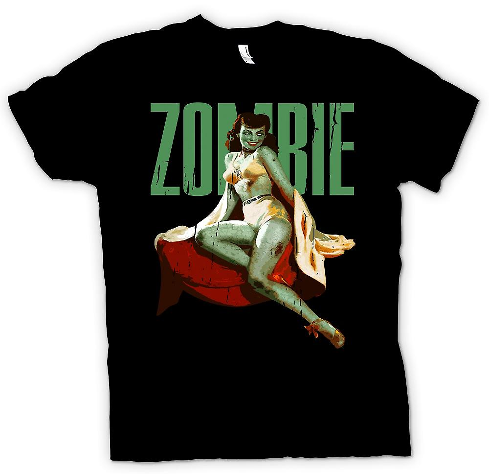 T-shirt - Vintage Zombie Pin Up - Lady verde