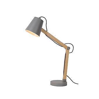 Lucide Tony Scandinavian Metal Grey And Light Wood Desk Lamp