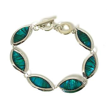 The Olivia Collection Paua Shell Horse Eye Link Base Metal 8.5 inch Bracelet