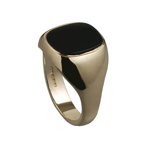 9ct Gold 15x13mm onyx cushion gents Signet Ring Size W