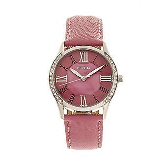 Bertha Sadie Mother-of-Pearl Leder-Band Uhr - Pink