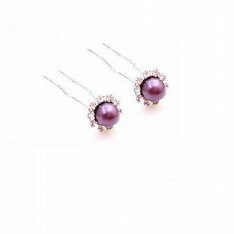 Bridal Hair Pin In Dark Purple Pearls Bridesmaid Hair Accessories
