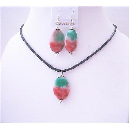 Fancy Agate Stone Oval Pendant & Earrings Sets w/ Black Chord Velvet Jewelry Set