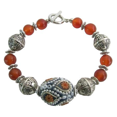 Fall Color Orange Carnelian w/ Kashmiri Bead Bracelet