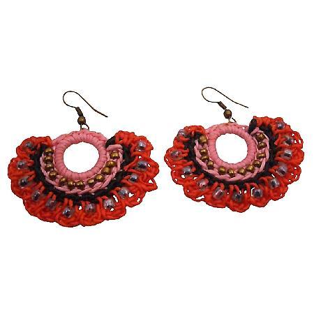 Funky Hippie Crochet Knitted Fan Shaped Red Black Earrings All Season
