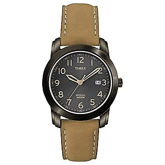 Timex T2P133 wrist watch, men's analogue dial, Brown leather strap,