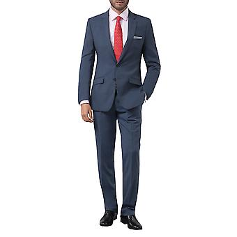 Dobell Mens Mississippi Blue 2 Piece Suit Slim Fit Notch Lapel