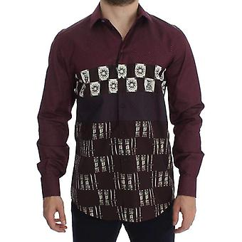 Dolce & Gabbana Bordeaux Medieval Print Slim Fit Casual Shirt -- SIG1126085
