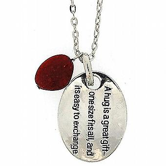 TOC 'A Hug Is A Great Gift  One Size Fits All' Oval Pendant Necklace 18