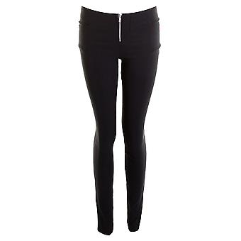 Ladies Black Stretch Miss scuola ragazze pantaloni donna Zip frontale