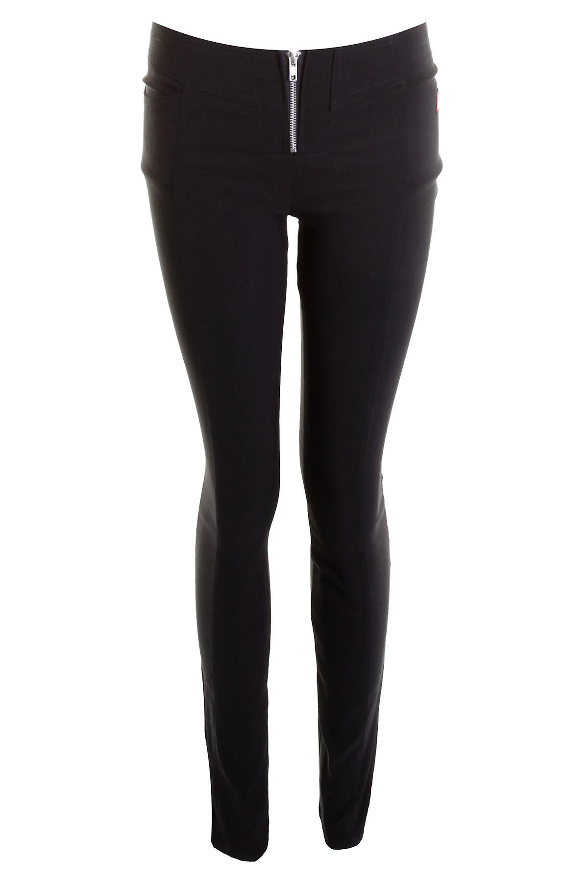Ladies Black Stretch Miss School Womens Front Zip Girls Trousers