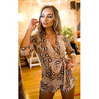 IKRUSH Womens Haylie Printed Wrap Style Playsuit