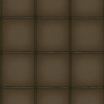 Vierkante paneel tegel effect behang donker bruin faux leder plak de muur Rasch