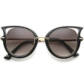 Women's Metal Temple Cutout Oversize Exaggerated Cat Eye Sunglasses 49mm