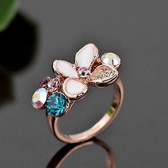 18K Gold Plated Stellux Austrian Crystals Camellia Ring