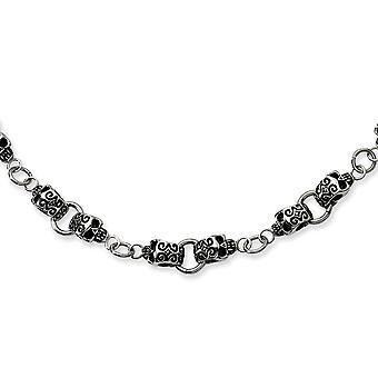 Edelstahl poliert antikisiert Phantasie Hummer Schließung Schädel Halskette - 24 Zoll