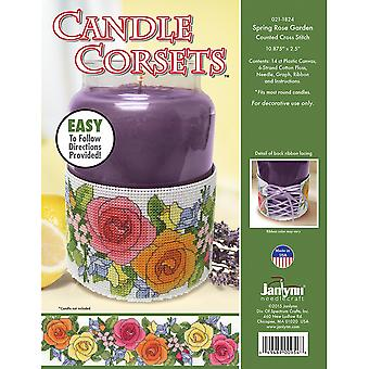 Candle Corsets Spring Rose Garden Plastic Canvas Kit-10.875