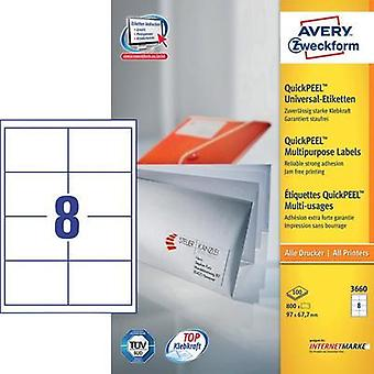 Avery-Zweckform 3660 Labels (A4) 97 x 67.7 mm Paper White 800 pc(s) Permanent All-purpose labels Inkjet, Laser, Copier