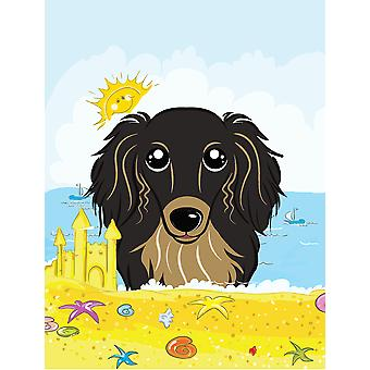 Longhair Black and Tan Dachshund Summer Beach Flag Canvas House Size BB2081CHF