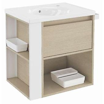 Bath+ 1 Drawer Cabinet + Shelf With Porcelain Basin Oak-White 60CM