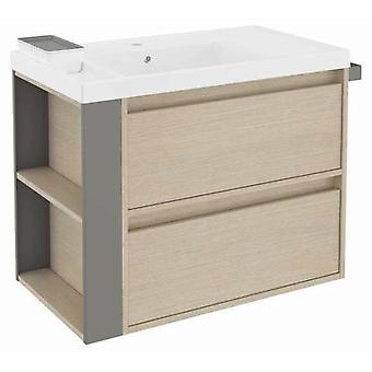 Bath+ Sink cabinet 2 Drawers With Resin Oak-Grey 80CM