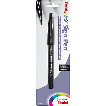 Pentel Arts Sign Pen With Brush Tip-Black 15NBPA