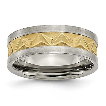 Titanium Satin and Gold-Flashed Brushed Engravable Yellow IP-plated Mens 8mm Band Ring - Ring Size: 7 to 12.5