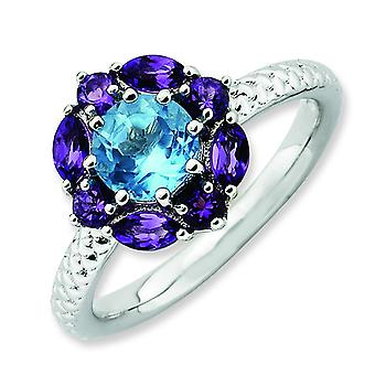 2.5mm Sterling Silver Stackable Expressions Amethyst and Blue Topaz Ring - Ring Size: 5 to 10